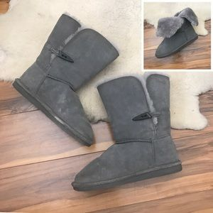 Bearpaw Gray Suede Slip On Short Boot 2-Way Size 6